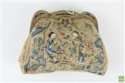 Sale 8563 - Lot 124 - Early Oriental Embroidered Ladies Purse- Some Losses