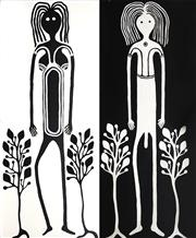 Sale 8808 - Lot 549 - Luke Cummins (c1958 - ) (2 works) - Saltwater-Freshwater, 2003 183 x 76cm, each (stretched and ready to hang)