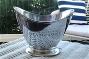 Sale 8858H - Lot 86 - Oval Aluminium Champagne Bucket with Cut-out Handles with engraved Champagne, H 26 x D 35 cm -
