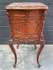 Sale 8993 - Lot 1033 - Louis XV Style Carved Walnut Bedside Cabinet, with marble top, a drawer & panel door, raised on cabriole legs (H: 84 x W: 38 x D: 38cm)