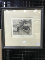 Sale 8990 - Lot 2038 - Ferdinand Schmutzer (1870-1928) Mother and Child by a Cow etching, 30.5 x 30.5 cm (frame) signed