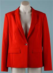 Sale 9090F - Lot 156 - A BOSS by HUGO BOSS BLAZER;  red, style Jemera, micro-stretch fabric, new with tags and spare button, size UK14 FR 44.