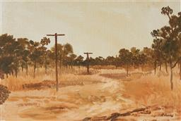 Sale 9141 - Lot 586 - Ray Crooke (1922 - 2015) Old Power Lines, Nth Qld oil on canvas on board 26 x 39 cm (frame: 48 x 60 x 3 cm) signed lower right