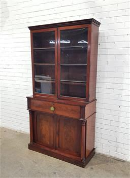 Sale 9179 - Lot 1011 - Early Victorian Flame Mahogany Secretaire Bookcase, the upper astragal doors with ebonised bars (missing one), the secretaire enlosi...