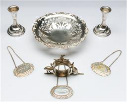 Sale 9164 - Lot 240 - A pair of Judaic silver small candle sticks (H:9cm) together with a silver bowl (Dia:16cm) and plated ware inc napkin ring holder