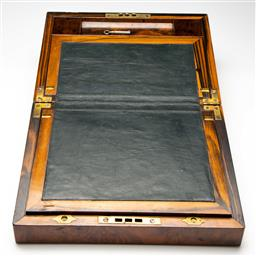 Sale 9209V - Lot 16 - An antique flame mahogany veneered writers box with mother of pearl inlay - with key (H:14cm W:30cm D:23cm)