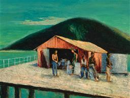 Sale 9244 - Lot 542 - SALI HERMAN (1898 - 1993) Portland Roads Jetty, 1957 oil on canvas 36 x 48 cm (frame: 64 x 77 x 8 cm) signed and dated lower right