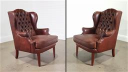Sale 9255 - Lot 1054 - Pair of modern leather wing back armchairs (h:106 x w:75 d:56cm)