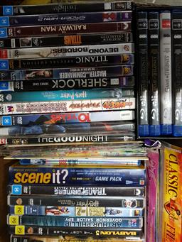 Sale 9254 - Lot 2247 - 4 Boxes of CDs & Blu-ray Discs incl DVD Roswell Box Set & Blu-ray Game of Thrones Season 1-4 Box Set