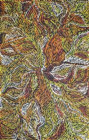 Sale 8260A - Lot 66 - Jeannie Petyarre (c.1956 - ) - Bush Medicine Leaves 152 x 97cm