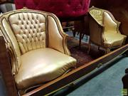 Sale 8570 - Lot 1072 - Pair of Gilt French Style Tub Chairs (89 x 60 x 68cm)