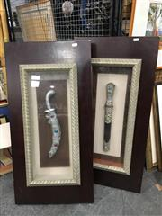 Sale 8776 - Lot 2094 - 2 Framed Decorative Oriental Sheathed Model Daggers