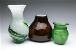 Sale 9098 - Lot 442 - Three art glass vases to include a bulbous example H15 - 28cm