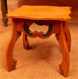 Sale 9191W - Lot 729 - A shield top timber side table (H; 37cm, W; 37cm)