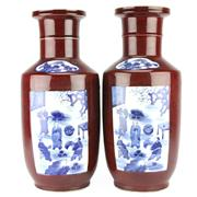 Sale 8258 - Lot 31 - Kang Hsi Style Pair of Red Glazed Vases
