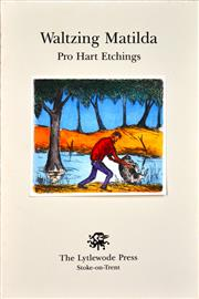 Sale 8306A - Lot 93 - Kevin Charles (Pro) Hart (1928 - 2006) - Waltzing Matilda (frontice) 28 x 19cm (overall)