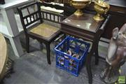 Sale 8326 - Lot 1301 - Regency Style Telephone Table With Wicker Seat