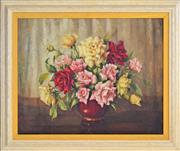 Sale 8339A - Lot 577 - Evelyn M. Baxter (1926 - 1979) - Still Life - Roses 40 x 50cm
