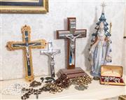 Sale 8375A - Lot 96 - A quantity of religious items including rosaries, crucifixes, a marble and gold cross with COA and a Lladro figure of St Nicholas
