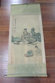 Sale 8473 - Lot 66 - Chinese Scroll Depicting Seated Elderly Man