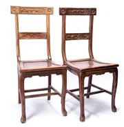 Sale 8520 - Lot 1032 - Pair of 19th Century Chinese hardwood chairs, height 93, width 37cm