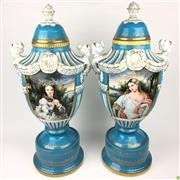 Sale 8562R - Lot 193 - Pair of Sevres Style Lidded Urns (H: 64cm)