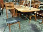 Sale 8661 - Lot 1002 - Very Good Quality Danish Teak Table with Two Leaves and Set of Eight Chairs