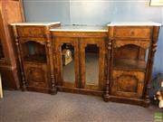 Sale 8649R - Lot 155 - Antique Burr Walnut Inlaid Cabinet with White Marble Top (Marble Slab in Centre Restored) (H: 96 W: 172 D: 43.5cm)