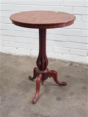 Sale 9068 - Lot 1027 - Unusual Victorian Walnut Marquetry Wine Table, the tilt-top, with concentric star & hexagon motif probably with added maple, within...