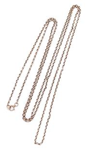 Sale 9095 - Lot 397 - AN ANTIQUE 9CT ROSE GOLD GUARD CHAIN; with bolt ring clasp, length 153cm, wt. 22.09g.