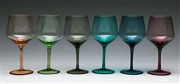 Sale 9153 - Lot 83 - A group of six MCM polychrome large scale wine glasses, (H:20cm)