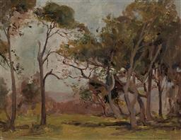 Sale 9180A - Lot 5063 - JAMES MUIR AULD (1879 - 1942) Gumtree Copse oil on canvas on board 23.5 x 31 cm (frame: 28 x 35 x 3 cm) signed lower right