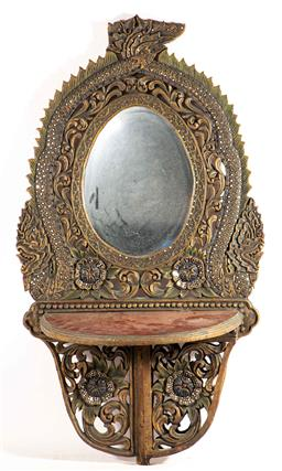 Sale 9209V - Lot 17 - A carved probably Southeast Asian timber mirrored wall shelf - damage to top (90cm x 50cm)