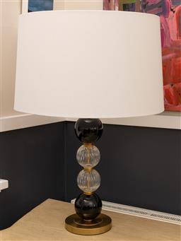 Sale 9248H - Lot 121 - A Zaffero bobble lamp in glass and porcelain with gold tone base.\ and large cream shade. height 86cm