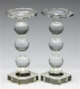 Sale 9253 - Lot 417 - Post modern faceted pillar crystal candle holders (2) (H:24cm)