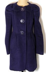 Sale 8196F - Lot 342 - A LEIFSDOTTIR BLUE WOOL BLEAND COAT; with equestrian themed buttons and floral lining (6).
