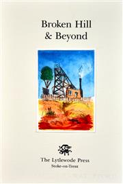 Sale 8306A - Lot 94 - Kevin Charles (Pro) Hart (1928 - 2006) - Broken Hill & Beyond (frontice) 28 x 19cm (overall)