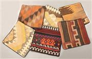 Sale 8445K - Lot 34 - Six Tribal Kilim Cushion Covers , 40x40cm, Unique Afghan kilim cushion. Handmade from vintage kilims, many over 50 years old. Cotton...