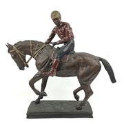 Sale 8545N - Lot 262 - Fine Quality Bronze Cold Painted Statue of a Horse & Jockey (H: 55cm, W: 60cm)