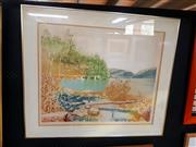 Sale 8671 - Lot 2040 - Artist Unknown - Stillness colour etching ed. 34/200, 81 x 95cm (frame), signed lower right