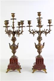 Sale 8923B - Lot 86 - A pair of rouge marble and gilt metal candelabra. Height 62cm