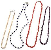 Sale 9046 - Lot 566 - FOUR GEM BEAD NECKLACES; 5.4mm round cultured pearls, 8mm long lozenge shape garnet beads, 6mm long branch coral beads, and 6mm face...