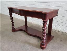 Sale 9126 - Lot 1158 - Victorian Mahogany Serpentine Front Hall Table, on barley-twist supports & shaped plinth base (h:72 w:121 d:51cm)