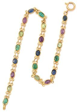 Sale 9140 - Lot 318 - AN 18CT GOLD GEMSET BRACELET; collet set with oval cut emeralds, blue and green sapphires, and treated rubies to bolt ring clasp, le...