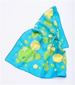 Sale 9168J - Lot 400 - AN HERMES BAL DE BULLES SILK POCKET SQUARE; bright yellow and lime green bubbles on a sky blue background, hand rolled edges and t...