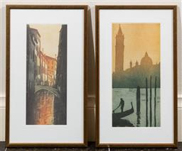 Sale 9165H - Lot 39 - A pair of Venetian prints from the Bac Art studio Venezia Frame size 42x24cm