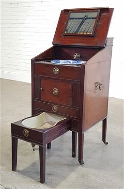 Sale 9179 - Lot 1042 - Good Late Georgian Mahogany Ladys Washstand, with a hinged top & tin lined cistern, above a hinged sloping top enclosing a fitted i...