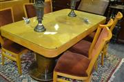 Sale 8093 - Lot 1399 - Art Deco Style Dining Suite inc Table and 6 Chairs