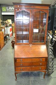 Sale 8129 - Lot 1059 - 1920s/30s Mahogany Bureau Bookcase, with two leadlight doors & three drawers (Missing Glass Panel)