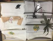 Sale 8310A - Lot 313 - A box of assorted embroidered napkins, lady birds, turkeys, cups and sauces,easter eggs, etc